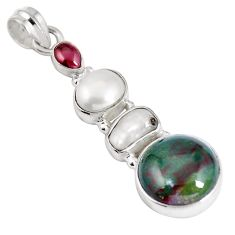 Clearance Sale- Natural green bloodstone african (heliotrope) 925 silver pendant d28201