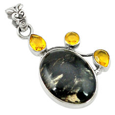 Clearance Sale- Natural black seraphinite (russian) citrine 925 sterling silver pendant d2821