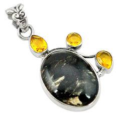 Natural black seraphinite (russian) citrine 925 sterling silver pendant d2821