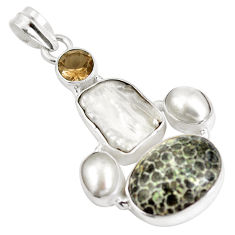 Natural black stingray coral from alaska 925 silver pendant d28216
