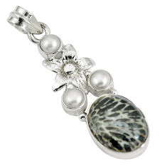 Clearance Sale- 925 silver natural black stingray coral from alaska pearl pendant d28218