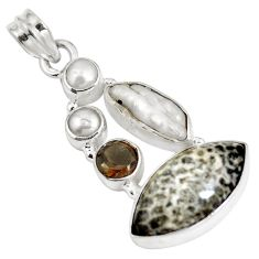 Clearance Sale- 925 silver natural black stingray coral from alaska pearl pendant d28220
