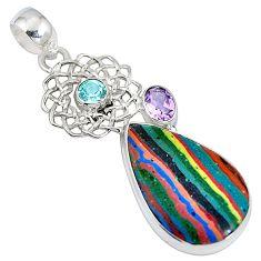 Clearance Sale- Natural multi color rainbow calsilica amethyst 925 silver pendant d28221