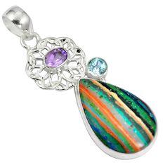 Natural multi color rainbow calsilica amethyst 925 silver pendant d28222