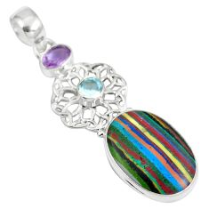 Clearance Sale- Natural multi color rainbow calsilica amethyst 925 silver pendant d28223