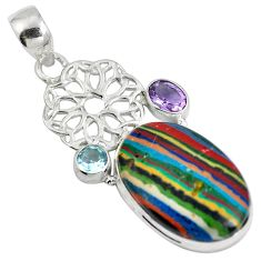 Natural multi color rainbow calsilica amethyst 925 silver pendant d28226