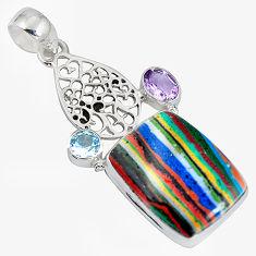 925 silver natural multi color rainbow calsilica amethyst pendant d28228