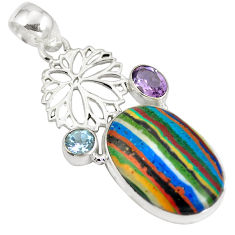 Natural multi color rainbow calsilica amethyst 925 silver pendant d28229