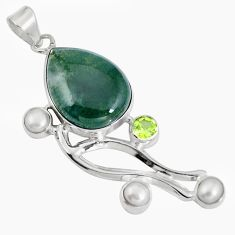 Natural green moss agate peridot 925 sterling silver pendant jewelry d28237