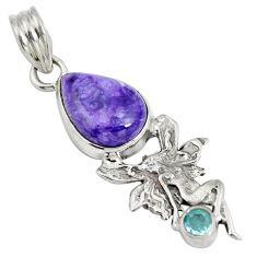 Natural purple charoite (siberian) 925 silver angel wings fairy pendant d28241