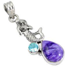 Natural purple charoite (siberian) 925 silver fairy mermaid pendant d28242