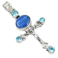 Natural blue kyanite topaz 925 sterling silver holy cross pendant d28243