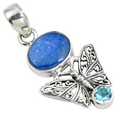 925 sterling silver natural blue kyanite topaz butterfly pendant d28244