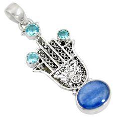 Natural blue kyanite topaz 925 silver hand of god hamsa pendant d28246