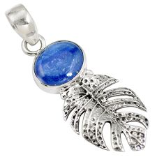Natural blue kyanite 925 sterling silver deltoid leaf pendant jewelry d28247