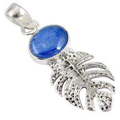 Natural blue kyanite 925 sterling silver deltoid leaf pendant jewelry d28248