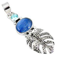 Natural blue kyanite topaz 925 silver deltoid leaf pendant jewelry d28249