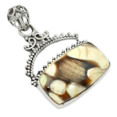 Natural Brown Peanut petrified wood fossil 925 sterling silver pendant d2825