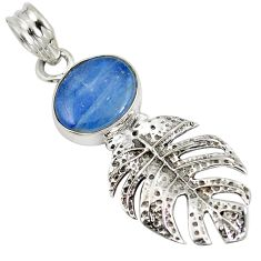925 sterling silver natural blue kyanite oval pendant jewelry d28250