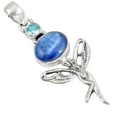 Natural blue kyanite topaz 925 sterling silver holy cross pendant d28254