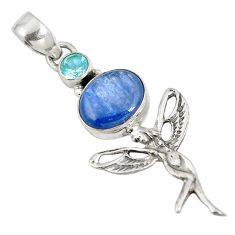 Clearance Sale- 925 sterling silver natural blue kyanite topaz holy cross pendant jewelry d28255