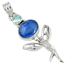 Natural blue kyanite topaz 925 silver angel wings fairy pendant d28256