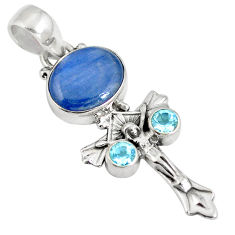 Clearance Sale- Natural blue kyanite topaz 925 sterling silver holy cross pendant d28257