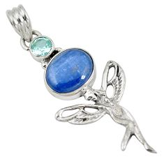 Clearance Sale- Natural blue kyanite topaz 925 silver angel wings fairy pendant d28258