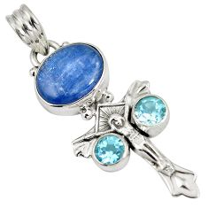 925 sterling silver natural blue kyanite topaz holy cross pendant d28260