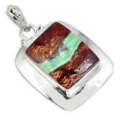 Natural green boulder chrysoprase 925 sterling silver pendant d28266