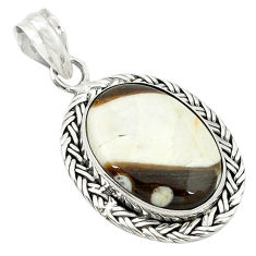 Clearance Sale- Natural brown peanut petrified wood fossil 925 silver pendant jewelry d2828