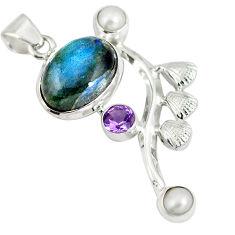 Clearance Sale- Natural blue labradorite amethyst 925 sterling silver pendant d28304