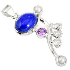 Clearance Sale- Natural blue lapis lazuli amethyst 925 sterling silver pendant d28307