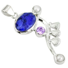 Clearance Sale- Natural blue sapphire amethyst 925 sterling silver pendant d28310