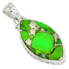 Green copper turquoise 925 sterling silver pendant jewelry d28316
