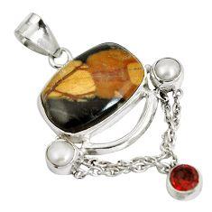 Natural black picasso jasper red garnet 925 sterling silver pendant d28323