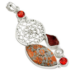 Natural red snakeskin jasper garnet rough 925 silver pendant d28332