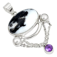 Clearance Sale- Natural white zebra jasper amethyst 925 sterling silver pendant d28338