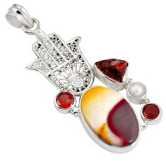 Clearance Sale- Natural brown mookaite 925 silver hand of god hamsa pendant d28349