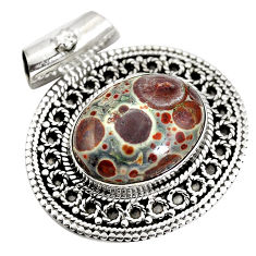Natural brown snakeskin jasper 925 sterling silver pendant d28357