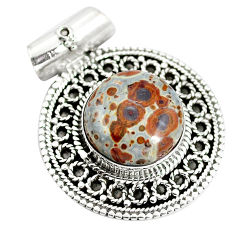 925 sterling silver natural brown snakeskin jasper pendant jewelry d28359