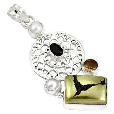 Clearance Sale- Natural golden pyrite in magnetite (healer's gold) 925 silver pendant d28369