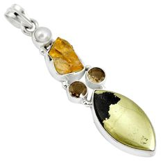 Natural golden pyrite in magnetite (healer's gold) 925 silver pendant d28372