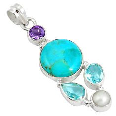 Blue arizona mohave turquoise amethyst 925 silver pendant jewelry d28384