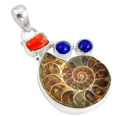 Natural brown ammonite fossil lapis lazuli 925 silver pendant jewelry d28389