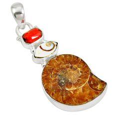 925 silver natural brown ammonite fossil shiva eye pendant jewelry d28394