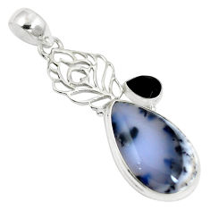 Clearance Sale- Natural white dendrite opal (merlinite) onyx 925 silver pendant d28408