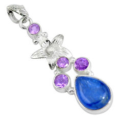 Clearance Sale- Natural blue kyanite amethyst 925 sterling silver pendant jewelry d28419