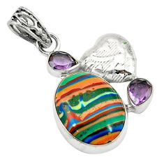 Clearance Sale- Natural multi color rainbow calsilica amethyst 925 silver pendant d2842