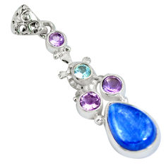 Clearance Sale- 925 sterling silver natural blue kyanite amethyst topaz pendant jewelry d28420